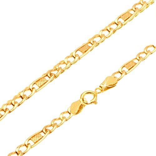 Bijuterii eshop - Lanț din aur galben 14K - trei ochiuri, za ovală cu plasă, 500 mm GG25.35