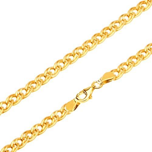 Bijuterii eshop - Lanț din aur - zale mici și mari, eliptice și lucioase, 450 mm GG26.01