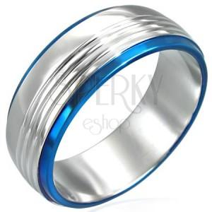Inel din oțel inoxidabil cu două linii albastre