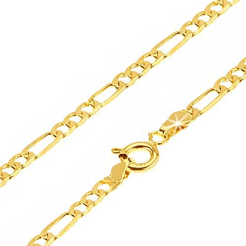 Bijuterii eshop - Lanț aur strălucitor - trei zale ovale și una alungită, 450 mm GG23.01