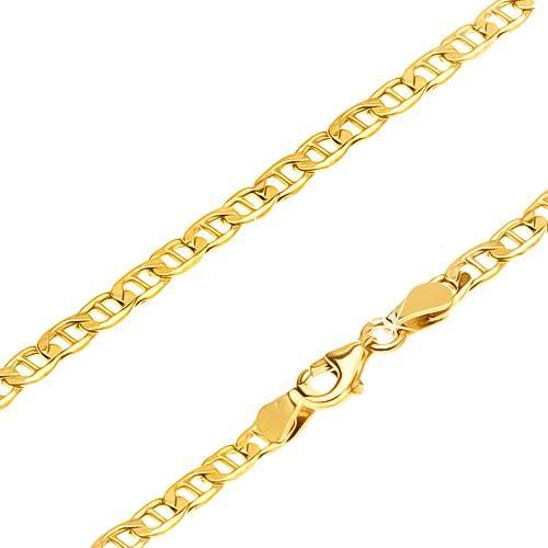 Bijuterii eshop - Lanț aur galben 14K - zale ovale late cu pivot subțire, 550 mm GG23.13