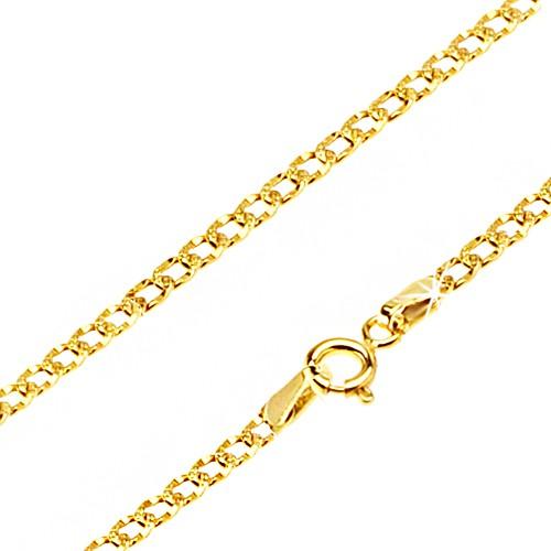 Bijuterii eshop - Lanț lucios din aur - zale ovale decorate cu încrețituri mici, 500 mm GG23.15