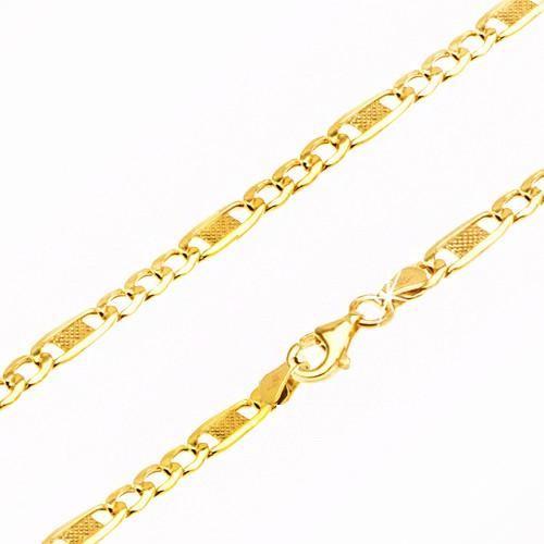 Bijuterii eshop - Lanț aur galben 14K - trei ochiuri și o za mai lungă cu plasă, 500 mm GG24.02