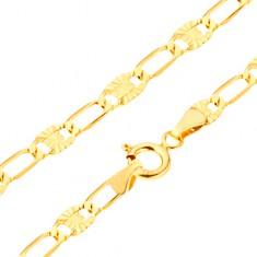 Brățară aur galben 14K - ochiuri lungi, zale cu raze canelate, 205 mm