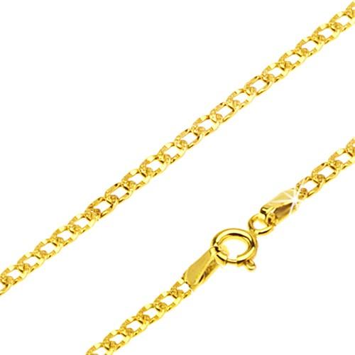 Bijuterii eshop - Lanț aur galben 14K - zale late decorate cu încrețituri mici, 500 mm GG28.33