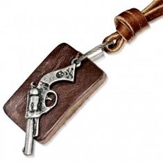 Colier din piele - bandă maro cafeniu, plăcuță alungită, pistol