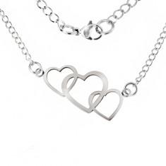 Colier realizat din oțel inoxidabil, trei contururi inimă suprapuse