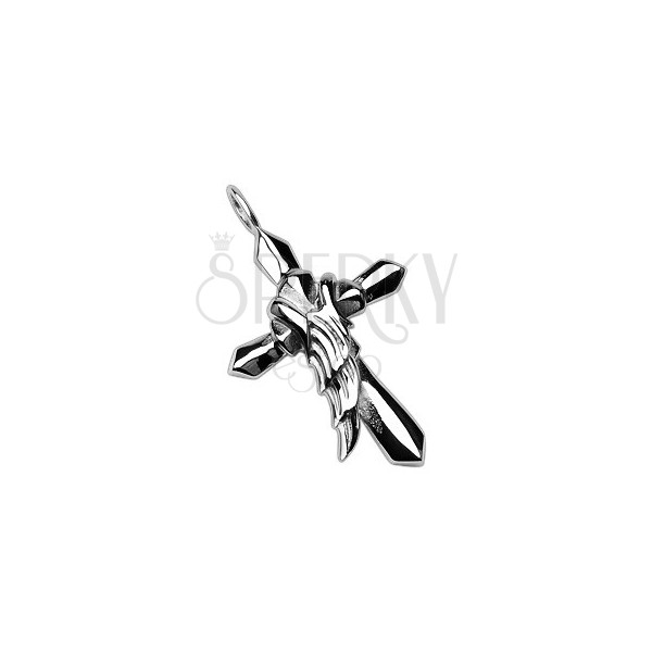 Pandantiv din oțel chirurgical - cruce cu aripă de înger