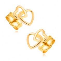 Cercei din aur 585 - contururi de inimi simetrice strălucitoare intersectate