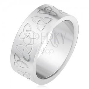Inel Din Oţel Gravat Cu Simboluri Celtice Triquetra Bijuterii Eshop