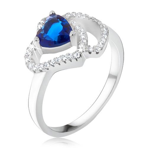Bijuterii eshop - Inel argint 925, ştras albastru în formă de inimă, contur din zirconiu V6.4 - Marime inel: 57