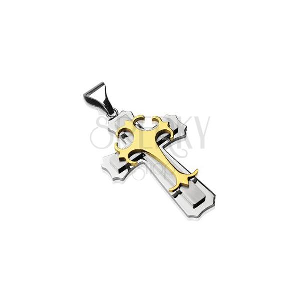 Pandantiv din oțel chirurgical - cruce triplă în culorile auriu și argintiu