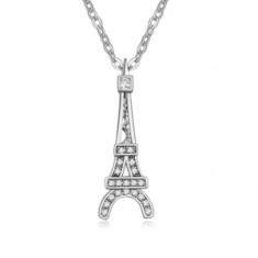Colier lucios cu un pandantiv în forma turnului Eiffel, ştrasuri transparente