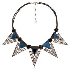 Colier, decoraţiuni masive, triunghiulare, cilindri negri, neregulaţi, zirconiu albastru