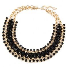 Colier masiv - zale rotunde, aurii, ştrasuri negre şi şnur