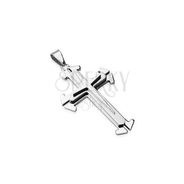 Pandantiv argintiu din oțel - cruce triplă