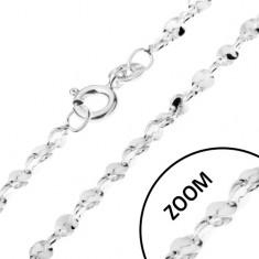 Lănțișor realizat din argint 925 - cu elemente de legătură ondulate ce formează o spirală, 1,5 mm