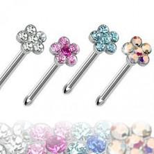 Piercing pentru nas din oţel, drept, floare colorată din zirconiu