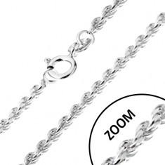 Lănțișor realizat din argint 925, elemente de legătură unite în spirală, 1,4 mm