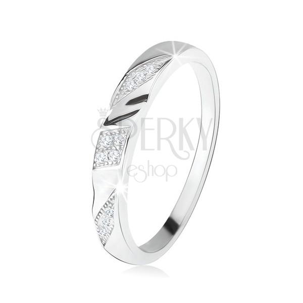Verighetă Din Argint 925 Dungi Gravate Oblice Cu Zirconiu