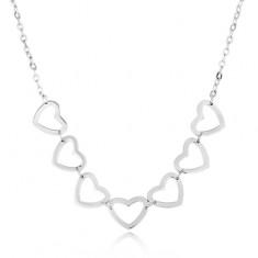Colier din oțel argintiu - lanț cu zale ovale, contururi de inimi