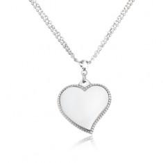 Colier din oțel inoxidabil - lanț dublu, inimă lucioasă, culoare argintie