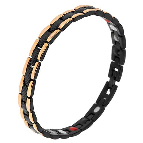 Bijuterii eshop - Brățară neagră din oțel cu model șarpe, fâșii aurii pe margini, magneți SP32.19