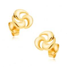 Cercei din aur 375 cu şurub - spirală strălucitoare cu trei vârfuri