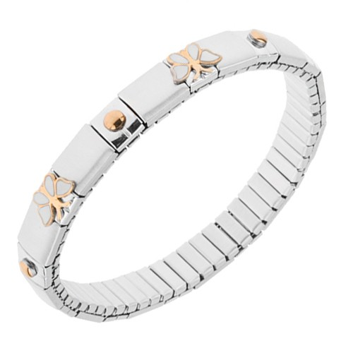 Bijuterii eshop - Brățară elastică argintie din oțel, părți lucioase și mate, fluturi, bile SP29.05