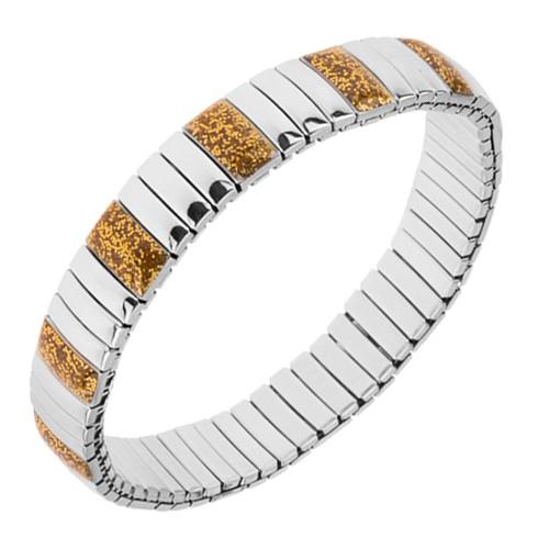 Bijuterii eshop - Brățară din oțel, zale lucioase alungite argintii și aurii S76.05