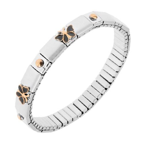 Bijuterii eshop - Brățară elastică din oțel, culoare argintie, bile, fluturi S80.11