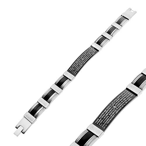 Bijuterii eshop - Brățară din oțel neagră și argintie, părți din cauciuc, rugăciune S80.20