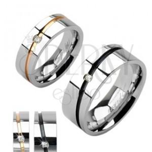 Verighete argintii din oțel, cu dungă aurie sau neagră și zirconiu