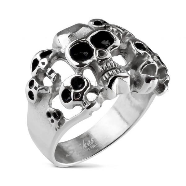 Inel din oțel inoxidabil cu 10 cranii