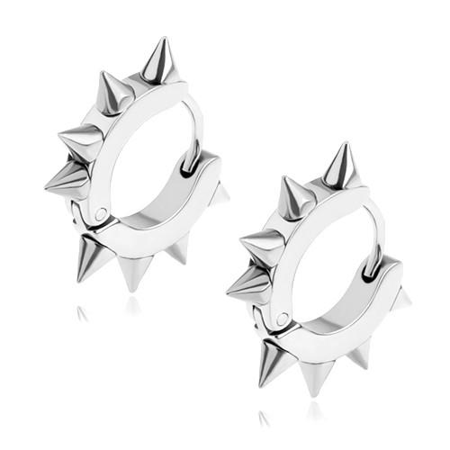 Bijuterii eshop - Cercei din oţel chirurgical, decoraţi cu ghimpi, culoare argintie S86.17