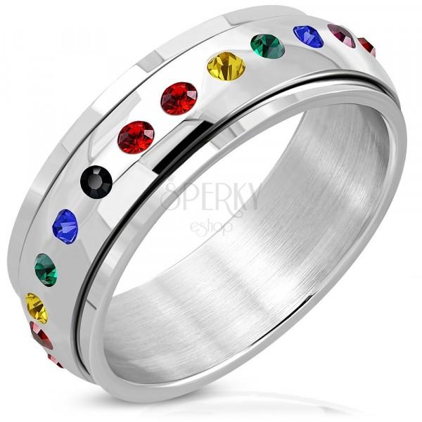 Inel din oțel inoxidabil cu parte centrală colorată și rotitoare