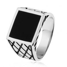 Inel argint 925, braţe cu romburi, pătrat cu smalţ negru