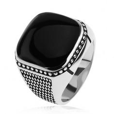 Inel argint 925, romburi mici, biluţe, pătrat negru, convex
