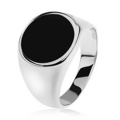 Inel argint 925, braţe şlefuite cu aspect tip oglindă, cerc negru lucios