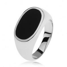 Inel argint 925, oval cu smalţ negru, lucios şi cu braţe care se lăţesc