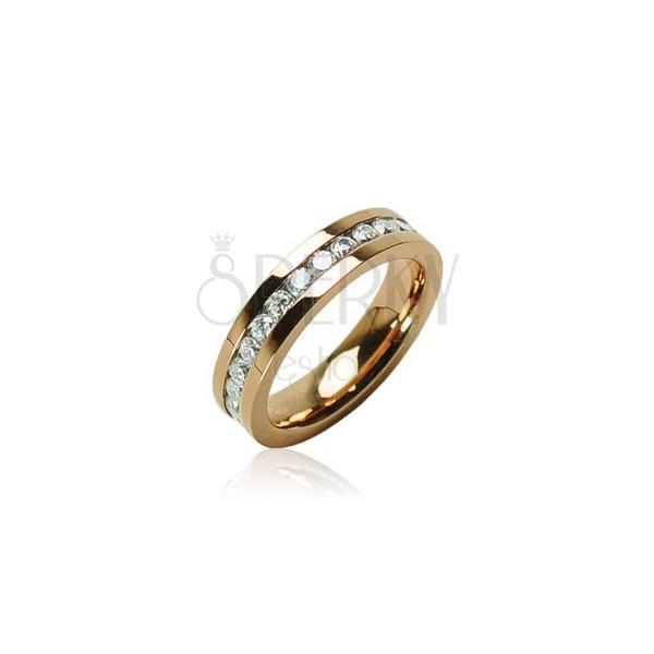 Inel din oțel de culoare aurie și cu zirconii
