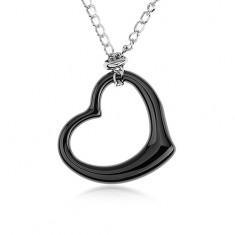 Colier din oțel, contur inimă neagră din ceramică, lanț argintiu