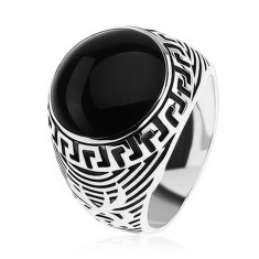 Inel argint 925, cerc negru lucios, ornament cheie grecească