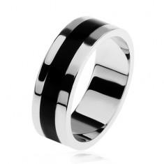 Inel lucios argint 925, dungă neagră smălţuită pe mijloc