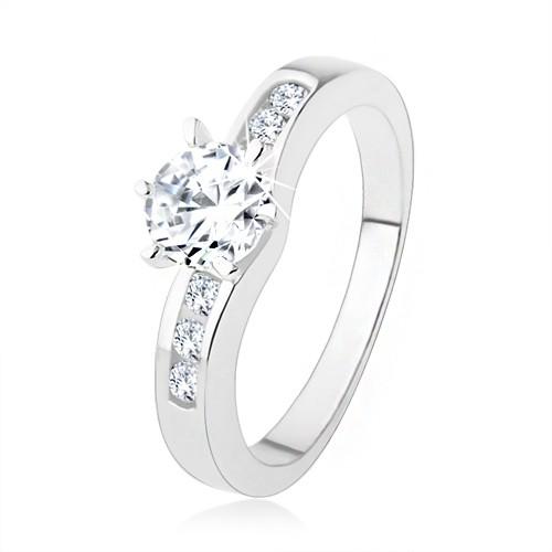 Bijuterii eshop - Inel argint 925, zirconiu rotund, transparent, braţe decorate SP39.06 - Marime inel: 54