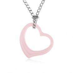 Colier din oțel, contur inimă roz din ceramică, lanț argintiu