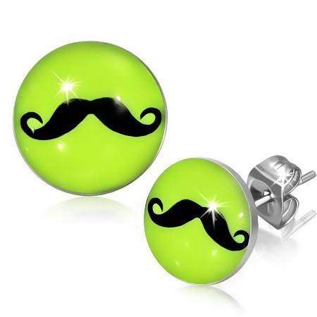 Bijuterii eshop - Cercei cu șurub din oțel 316L, mustață neagră pe un fundal verde-gălbui SP42.09