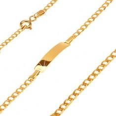 Brăţară din aur 585 cu plăcuţă - ochiuri ovale mici lucioase, 160 mm
