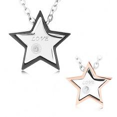 Coliere realizate din oțel chirurgical, stele cu cinci colțuri, zirconiu de culoare transparentă, LOVE