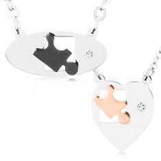 Coliere realizate din oțel inoxidabil pentru un cuplu, formă ovală și de inimă, piese de puzzle, zirconiu